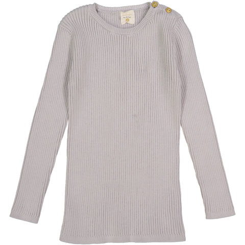 Analogie by Lil Legs Grey Ribbed Knit LS Top