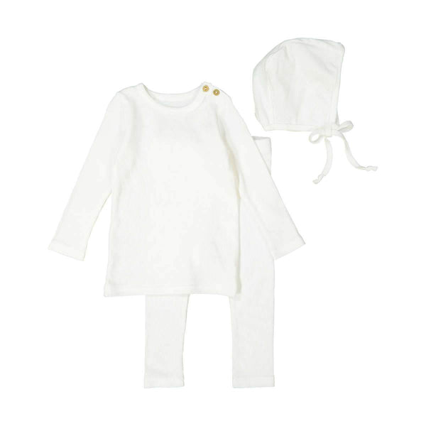 Lil Legs Baby White Ribbed Set