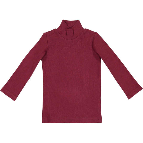 Lil Leggs Rib Turtleneck in Burgundy