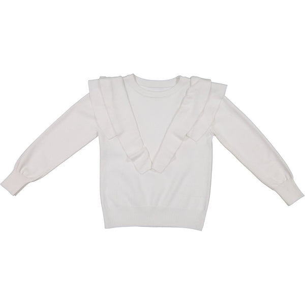 Three Bows Ivory Ruffle Sweater