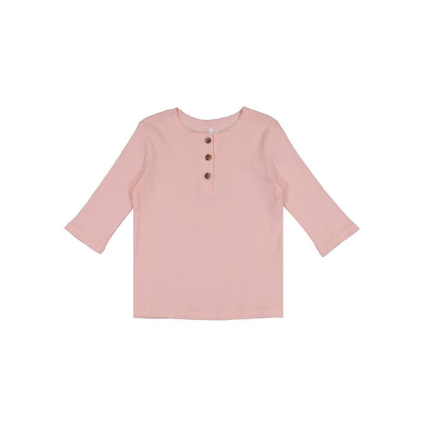 Three Bows Light Pink Ribbed Henley