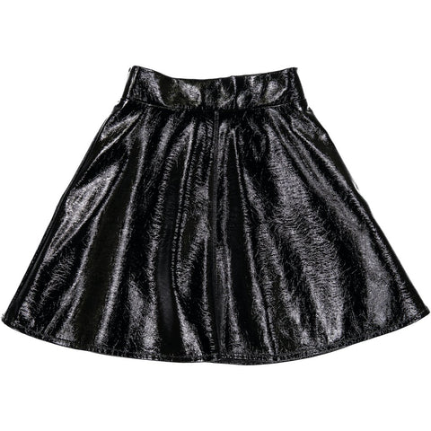 Three Bows Black Leather Camp Skirt