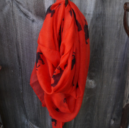 Running Horses Scarf - Tomato with Black - Pony Express Girls