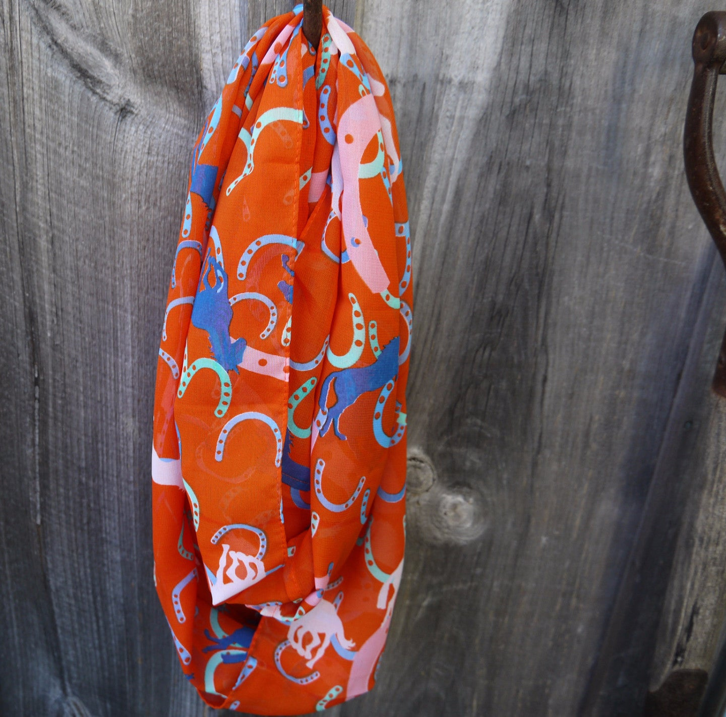 Orange - Chiffon Infinity Scarf - Pony Express Girls