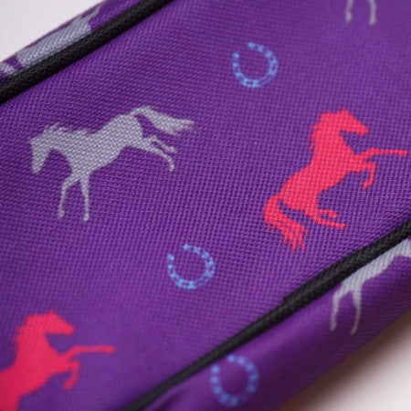 Pencil Case - Purple with Horse Print - Pony Express Girls