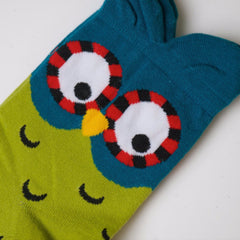 Owl Socks - Green/Blue - Pony Express Girls
