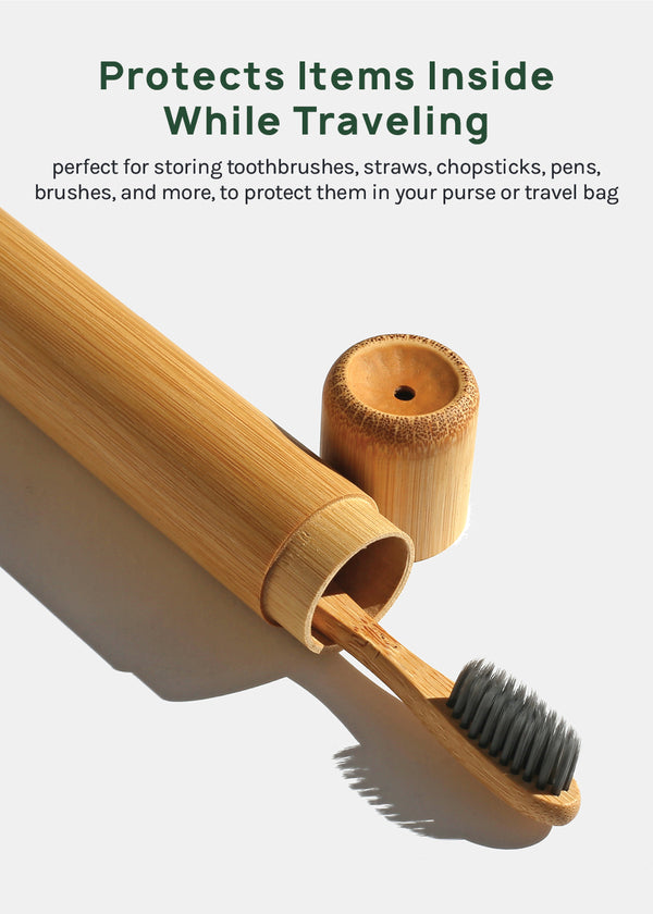 Official Key Items Bamboo Toothbrush Travel Tube