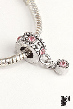 Pink Crystal Dangle Bead Charm