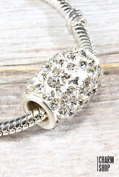 White Crystal Barrel Bead Charm