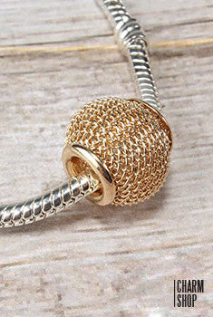 Dark Gold Mesh Bead Charm