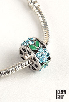 Flower Garden Bead Charm- Blue