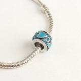 Blue Heart Crystal Bead Charm