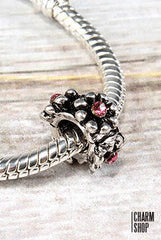 Flowers with Pink Crystals Bead Charm