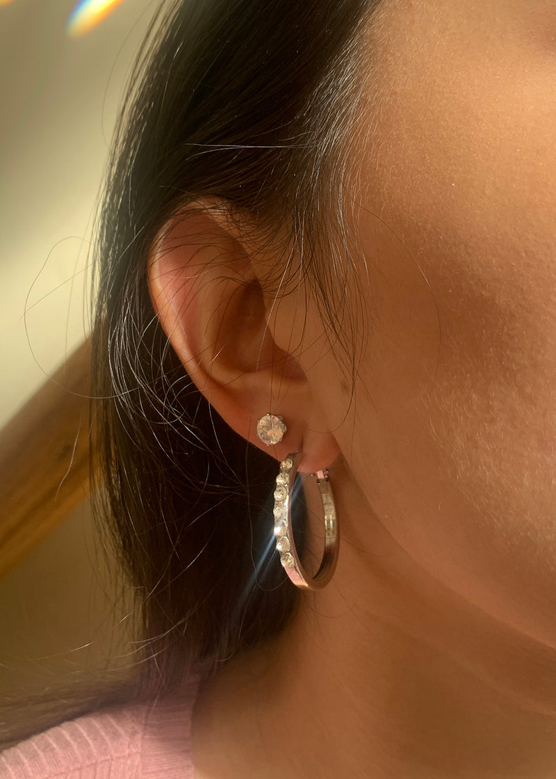 2-Pair Rhinestone Stud & Hoop Earrings