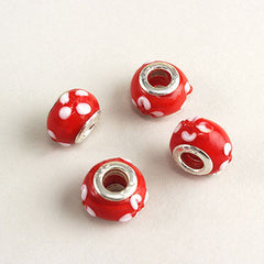 Red Glass Flower Bead Charm