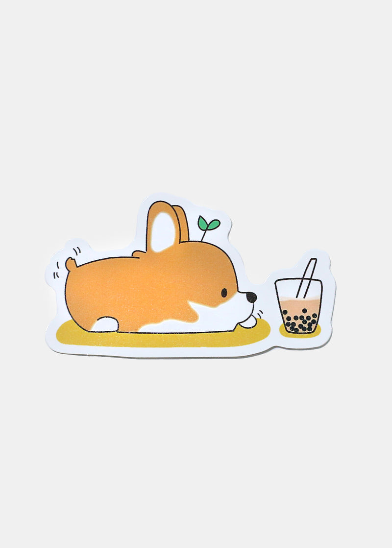 Oki Sticker- Corgie Loves Boba