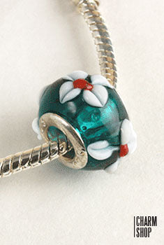 Green Glass Flower Bead Charm