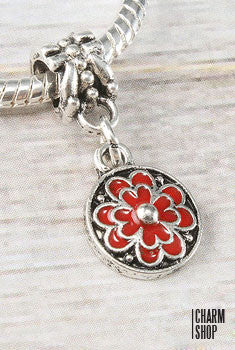 Circle Red Flower Bead Charm
