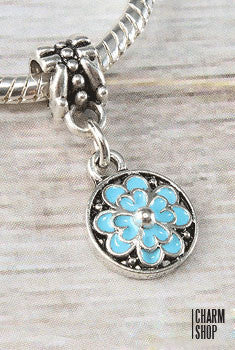 Circle Blue Flower Bead Charm