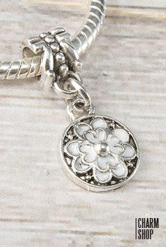 Circle White Flower Bead Charm