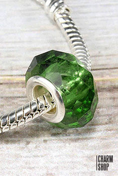 Dark Green Crystal Bead Charm