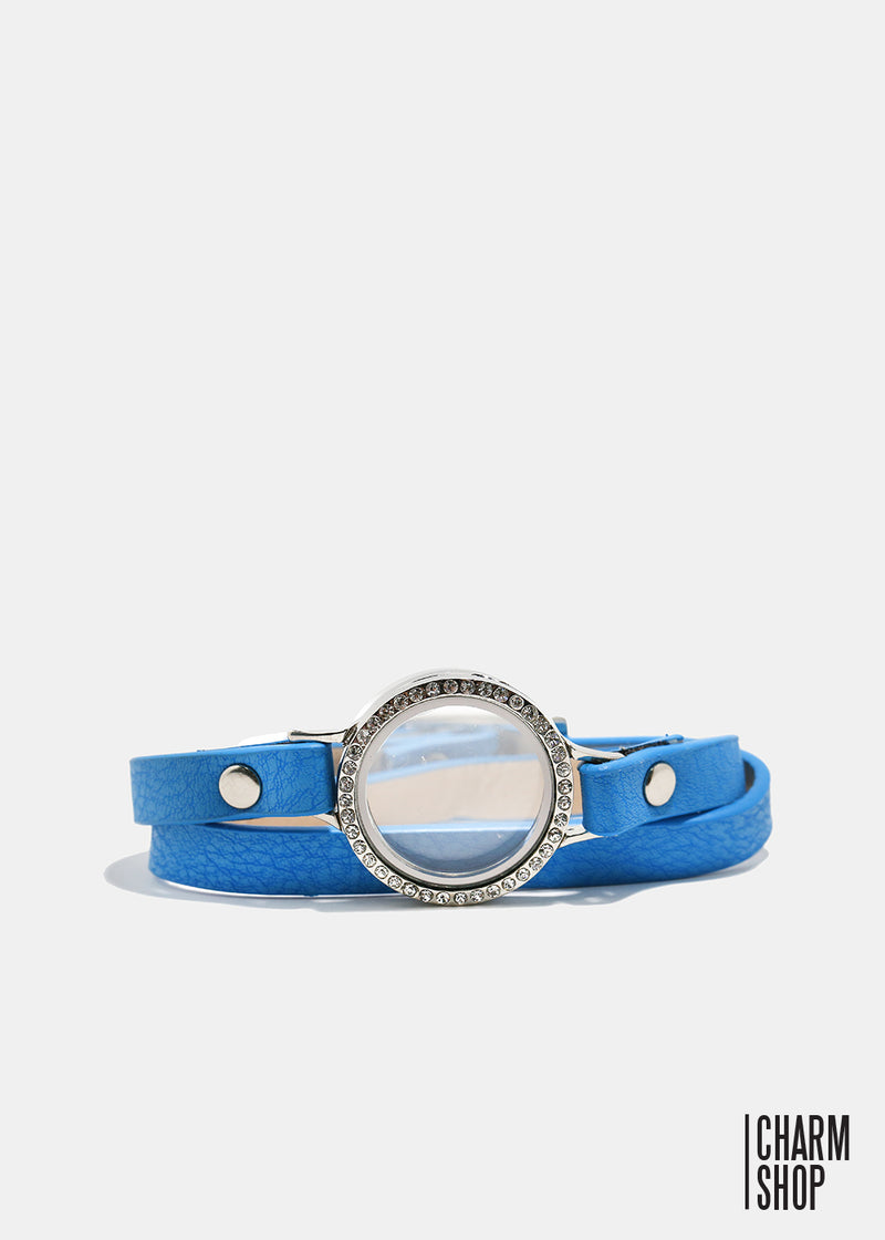 Blue Leather Circle Crystal Locket Bracelet