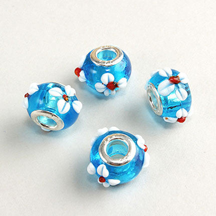 Blue Glass Flower Bead Charm
