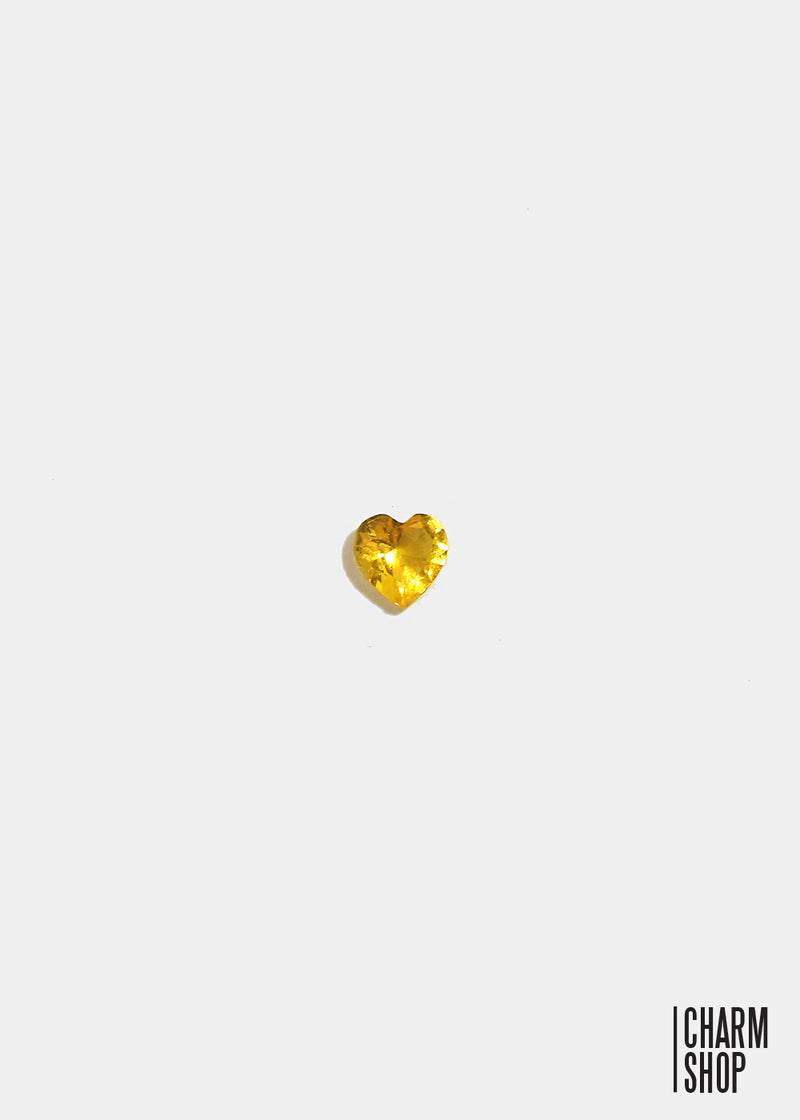 Yellow Heart Accent Stone Locket Charm (2 stones)
