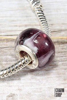 Purple Marble Glass Bead Charm