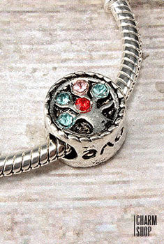 Love & Crystal Wheel Bead Charm