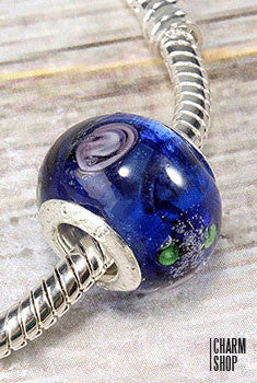 Blue Artsy Glass Bead Charm