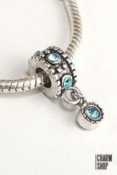 Blue Crystal Dangle Bead Charm