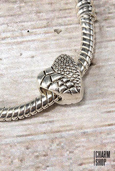 Textured Heart Bead Charm