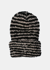 Soft Striped Winter Beanie- Black/Grey