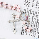 Light Pink Beaded Rosary Necklace