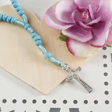 Baby Blue Beaded Rosary Necklace with Case