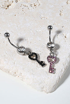 Heart Key Belly Ring