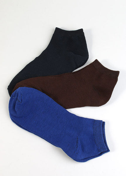 3 Pair Solid Ankle Socks