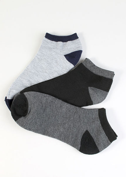 3 Pair Two Tone Ankle Socks