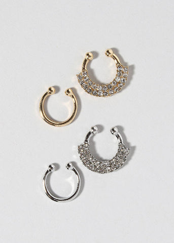 2 Piece Sparkling Septum Rings