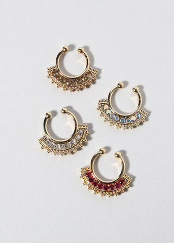2 Piece Gold Rhinestone Septum Rings