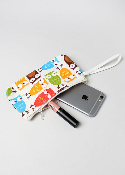 Owl Print Zippered Pouch