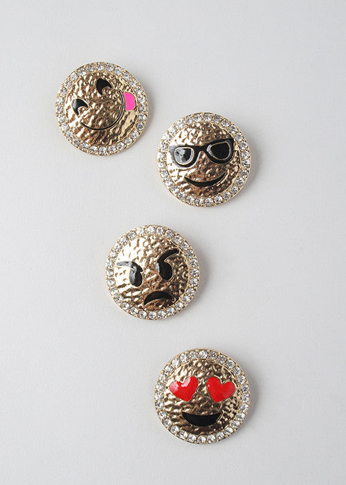 Gold Metal Emoji Brooch