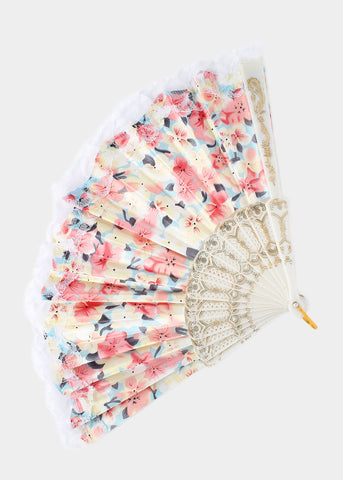 Bright Flower Print Hand Fan