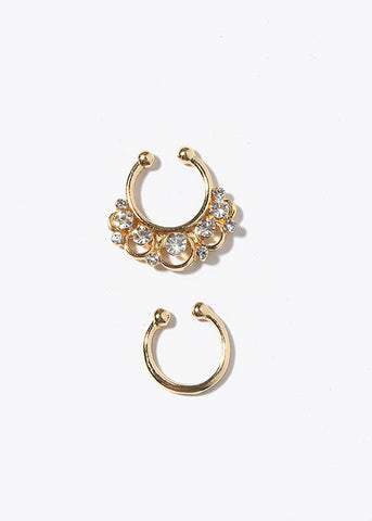 2 Piece Boho Rhinestone Septum Rings