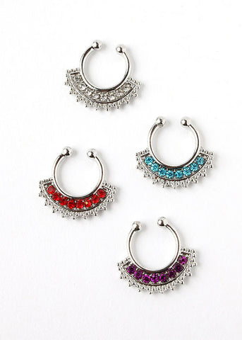 2 Piece Colored Rhinestone Septum Set