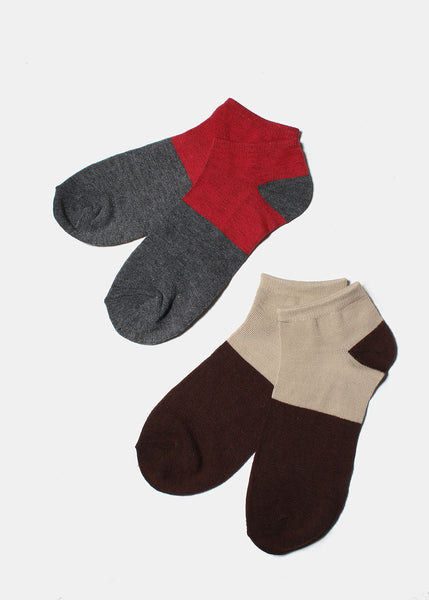 3 Pair Two-Tone Ankle Socks