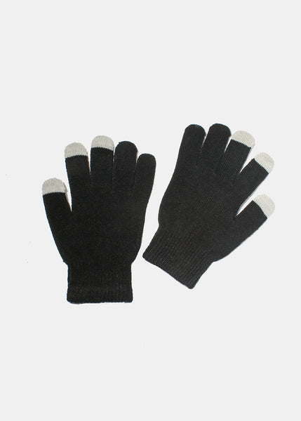 Black Touchscreen Fingertip Gloves