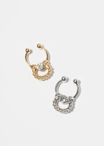 Short Horseshoe Gemstone Septum Hanger