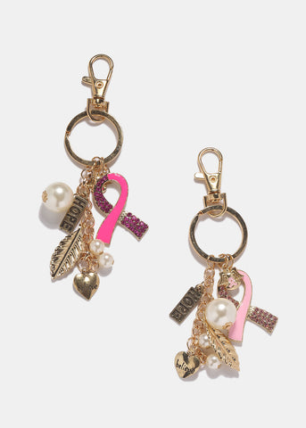 Pink Ribbon Charm Key Chain